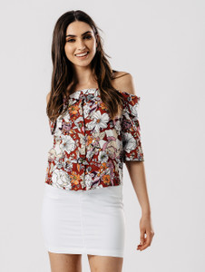 Multi Floral Bardot Top