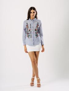 Blue Stripe Floral Embroidered Shirt