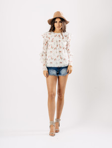 Cream Floral Ruffle Sleeve Top