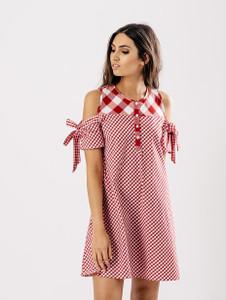 Red Contrast Check Cold Shoulder Dress