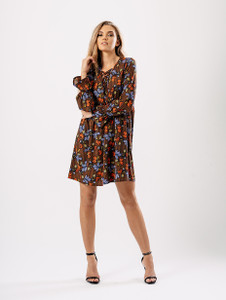 Lace Up Floral Boho Smock Dress
