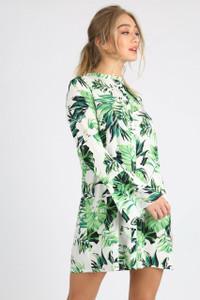 Green Leaf Print Flare Sleeve Shirt Dress