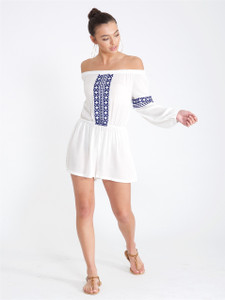 White Embroidered Cheesecloth Bardot Playsuit