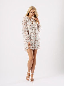 Cream Lace Tie Up Floral Chiffon Smock Dress