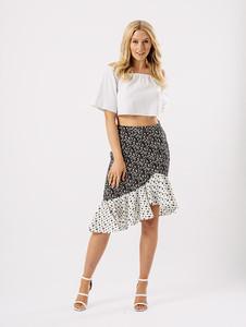 Black Floral Midi Frill Detail Skirt