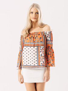 Orange Floral Print Bardot Top