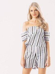 Blue Stripe Layered Bardot Playsuit