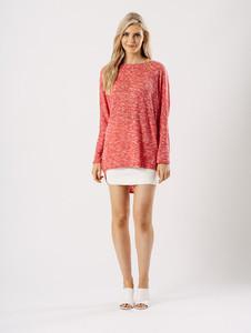 Jersey Long Sleeves Dip Hem Top in Coral Pink