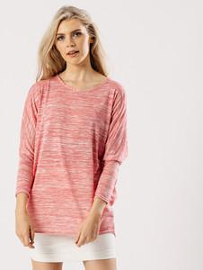 Pink White Jersey Long Sleeves Ribbed Dip Hem Top