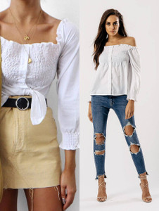 White Shirred Bardot Button Front Top
