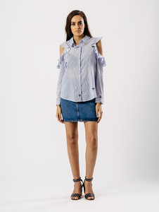 Blue Stripe Butterfly Embroidered Cold Shoulder Frill Shirt