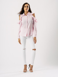 Pink Stripe Butterfly Embroidered Cold Shoulder Frill Shirt