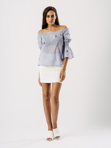 Blue Stripe Bardot Bell Sleeve Embroidered Top