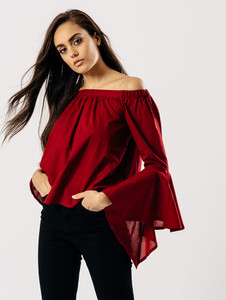 Burgundy Bardot Top With Flute Sleeves