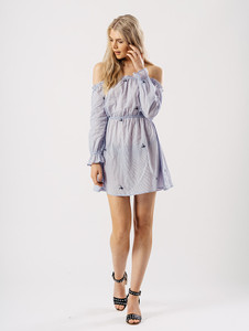Blue Stripe Bardot Elasticated Waist Embroidered Dress