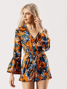 Floral Wrap Flare Sleeve Playsuit in Orange