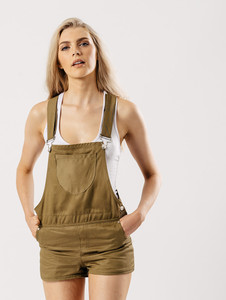 Khaki Short Dungaree With Front Patch Pocket