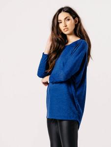 Royal Blue Jersey Long Sleeves Dip Hem Top