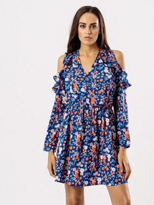 Blue Ditsy Floral Frill Cold Shoulder Dress