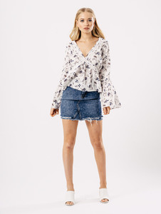 White Floral V Neck Bell Sleeve Top