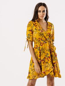 Mustard Floral Wrap Frill Dress