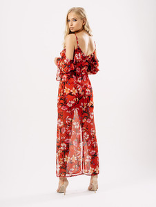 Red Floral Cold Shoulder Frill Double Split Maxi Dress
