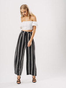Monochrome Stripe Wide Leg Trousers