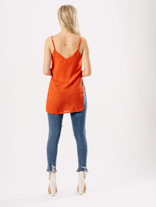 Red Cross Detail Strappy Side Split Cami Top