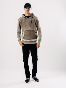 Khaki Hooded Sweat With Contrast Twill Panel