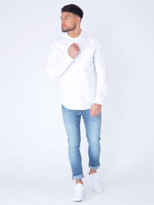 White Long Sleeve Grandad Collar Shirt With Pocket
