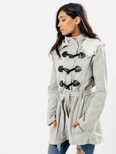 Grey Hooded Toggle Fasten Tie Waist Coat