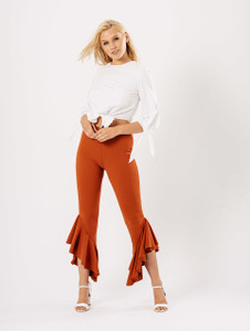 Rust Extreme Ruffle Hem Trousers