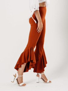 Rust Extreme Ruffle Hem Trousers