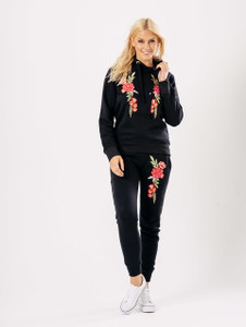 Black Pink Embroidered Hooded Loungewear Suit