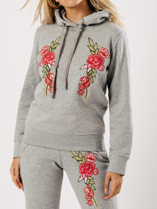 Grey Pink Embroidered Hooded Loungewear Suit