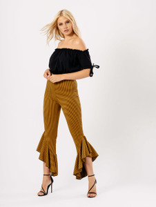 Mustard Gingham Check Extreme Ruffle Hem Trousers