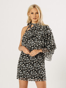 Extreme Ruffle One Sleeve Floral Dress