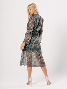 Mint Floral Romantic Frill Sheer Midi Dress