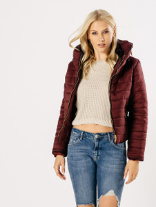 Wine Padded Puffer Coat
