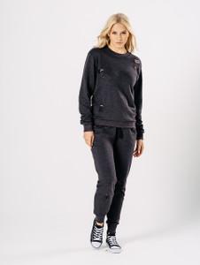 Charcoal Distressed Crew Neck Loungewear Set