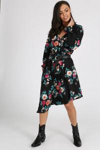 Black Floral Cold Shoulder Asymmetric Wrap Dress