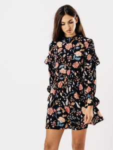 Black Floral High Neck Bell Sleeve Dress
