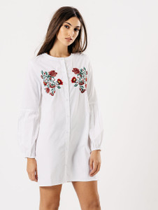 White Cotton Embroidered Balloon Sleeve Shirt Dress