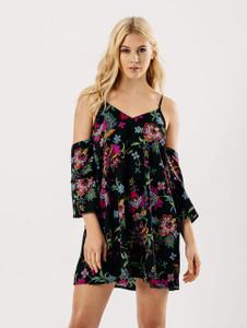 Black Floral Cold Shoulder Tier Sleeve Slip Dress