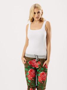 Khaki Floral 3/4 Sweat Pants