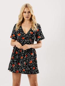Black Floral Lattice Waist Tea Dress