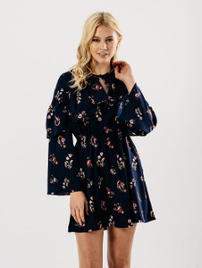 Navy Floral Ruffle Tie Front Dress