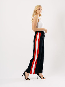 Black Wide Leg High Waisted Sports Luxe Trouser