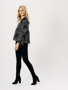 Black Floral Frill Shoulder Cuffed Sleeve Top