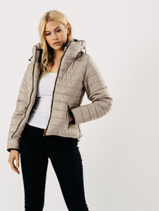 Padded Puffer Coat in Stone